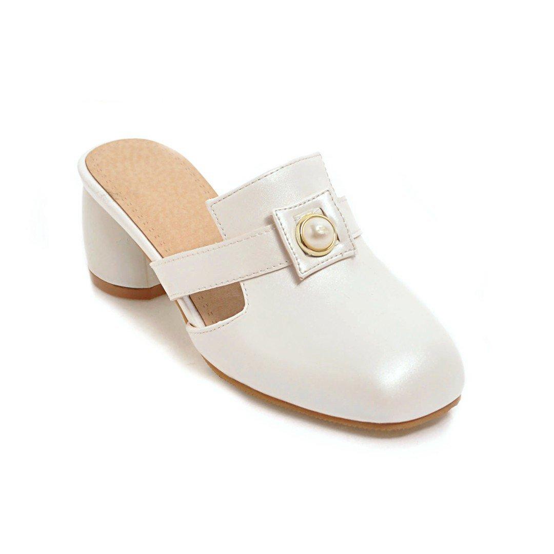 Unbekannt Sandalen Damen Quadratischen Kopf Mitte Rücktaste der Ferse Rücktaste Mitte Flip Flop Vintage weiß 32 991625