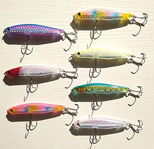 Fishing Lures - 7pcs 18g/21g/28g/35g 3D Sea Bass Mackerel Big Size Hard Fishing Lure Minnow Mixed 4 Colors Strong Fishing Hook - (Color: 110mm 35g)