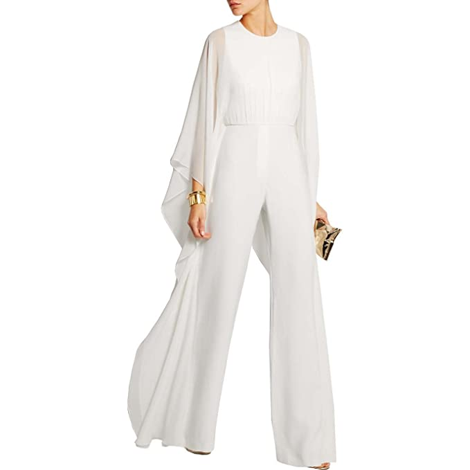 4917bc30908 Image Unavailable. Image not available for. Color  Maketina Womens Ruffle  Long Bat Sleeve Wide Leg Zipper Evening Jumpsuit Romper size S (White