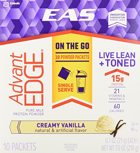 EAS Advantedge On-the-Go Protein Powder Packets, Creamy Vanilla, 10 Count