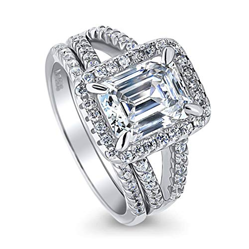 BERRICLE Rhodium Plated Sterling Silver Emerald Cut Cubic Zirconia CZ Halo Engagement Wedding Split Shank Ring Set 3.31 CTW Size 8 (Wedding Band To Match Split Shank Engagement Ring)