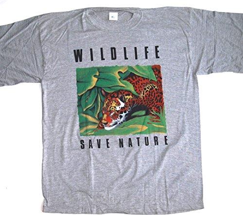 T-Shirt Wildlife Save Nature Tiger Baumwolle Größe XXL grau meliert Siebdruck Original aus den 1990er Jahren