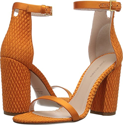 (Stuart Weitzman Women's NUQUILT Heeled Sandal, Mandarin Silk Satin, 7 Medium US)