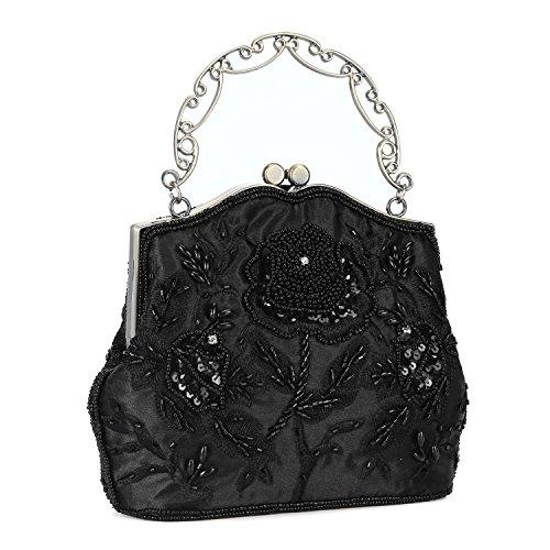 - UBORSE Women's Vintage Flower Beaded Sequin Evening Clutch Wedding Purse Party Bags Black