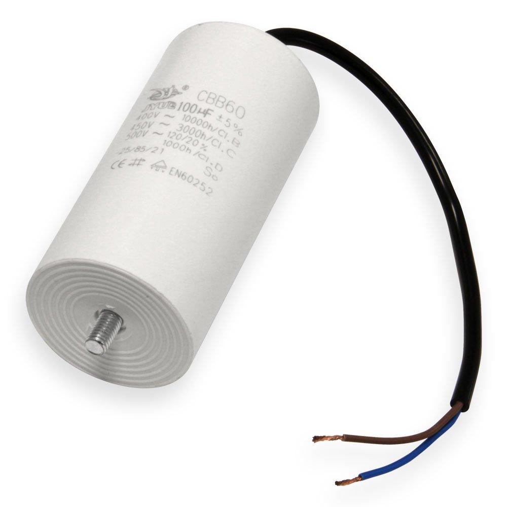 Kondensator 20 µ F uF mit 25cm Anschluß kabel Anlaufkondensator Motorkondensator 450V Kondensatoren Valondo