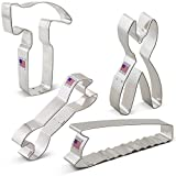 Construction Tools Cookie Cutter Set - 4 piece - Saw, Pliers, Wrench and Hammer - Ann Clark - Tin Plated Steel