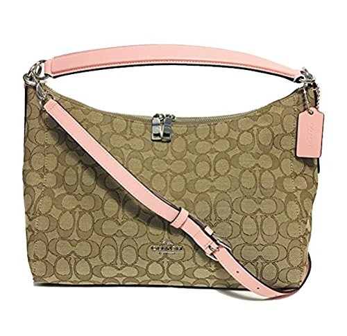 Coach East/West Celeste Convertible Hobo in Outline Signature (Khaki/Blush) by Coach