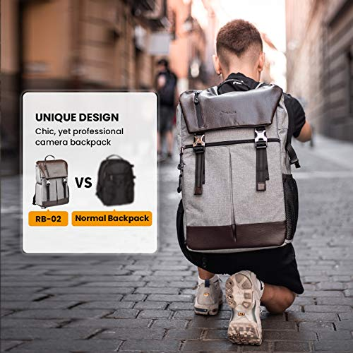 Tarion Camera Backpack Waterproof Camera Backpack Mirror Reflex Camera Bag Certified Protection Class IPX5 Waterproof Camera Backpack with Rain Cover for Men and Women