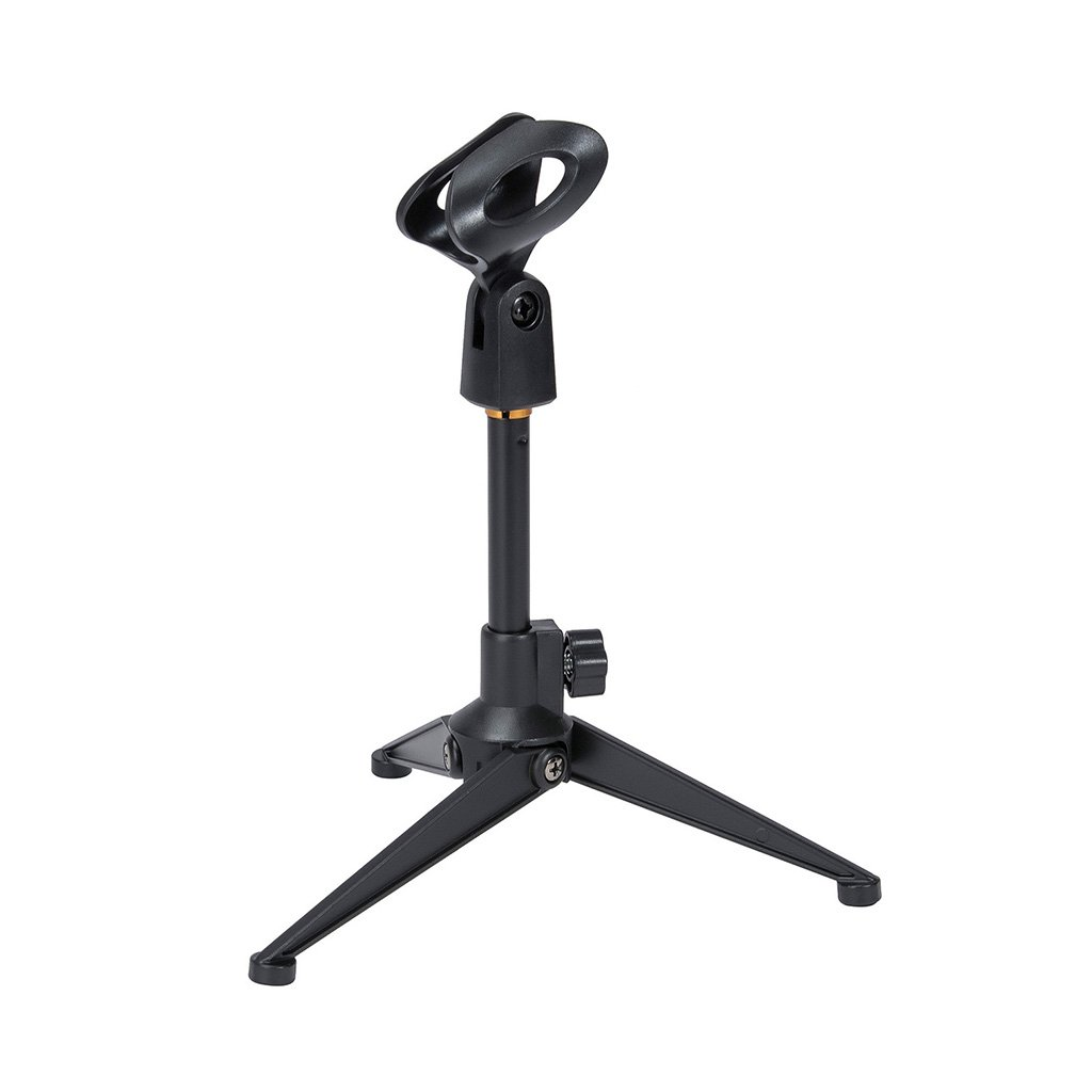 Universal Adjustable Desk Microphone Stand Portable Foldable Tripod MIC Tabletop Stand with Small Plastic Microphone Clip Such as Sm57 Sm58 Sm86 Sm87