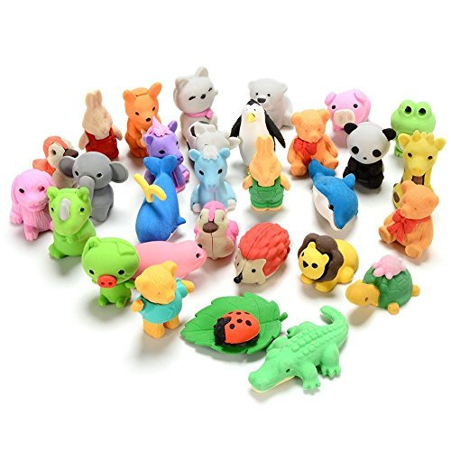 mini animals erasers cute