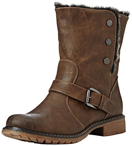 Boots Tan 6 Size Lined 7 Womens Brown Look 3 Brown 5 Fold Biker 8 Down Ankle Black Eyes Ladies Leather Fur 4 Cats qwqHfx6ZP