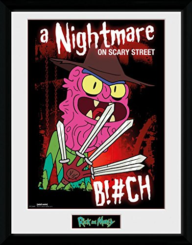 RICK AND MORTY Framed Collector Poster - Scary Terry, A Nightmare On Scary Street (16 x 12 inches) (Rick And Morty Nightmare On Elm Street)