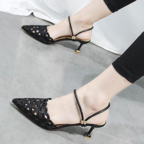 Zapatos Y Zapatos Tacones Tacones Zapatos Black Ahuecado Sandalias ZHANGJIA con Zapatos Cat xZqpwzCB