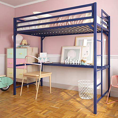 DHP 4307629 Miles Twin Metal Loft Bed with Desk, Space-Saving Design, Blue