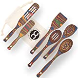 Exotic Pakkawood 6-Piece Kitchen Utensil Set with 12-in Spoon, 12-in Slotted Spoon, 12-in Spatula, 12-in Corner Spoon, 13-in Large Spurtle, 9-in Small Spurtle - by Crate Collective (Rainbow)