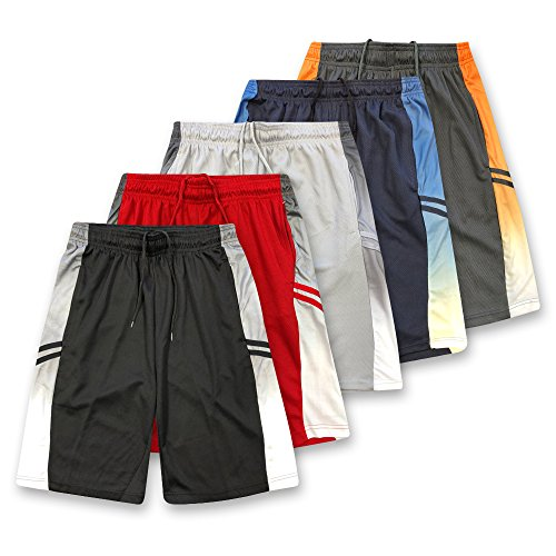 Pack Mens Basketball (American Legend Mens Active Athletic Performance Shorts - Set 1-5 Pack, M)