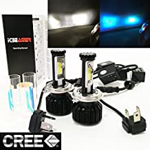 MOTORCYCLE (2 LIGHT COLORS IN 1 KIT) H4 9003 HB2 CREE COB LED (High/Low Beam) All-in-One Kit (Blue & White) 8000 LM 80W