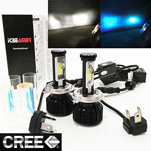 Mega Racer (2 Colors in 1 Set) H4 9003 HB2 10000K Blue 6000K White (High/Low Beam) CREE COB LED Xenon Kit Kit 8000 LM 80W -