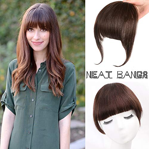 Clip in Bangs Dark Brown 100% Remy Human Hair Piece One Piece Full Front Neat Fringe Straight Bangs Clip on Hairpiece With Temples (Human Clip On Bangs)
