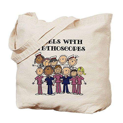 CafePress–ángeles con estetoscopio Tote Bag–Natural gamuza de bolsa de lona bolsa, bolsa de la compra