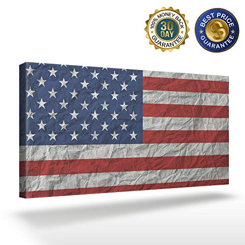 OUR WINGS Canvas Print Wall Art Decor Grain Texture Background American Flag Wall Art Painting The Picture Print On Canvas for Home Modern Decoration 16x32in]()
