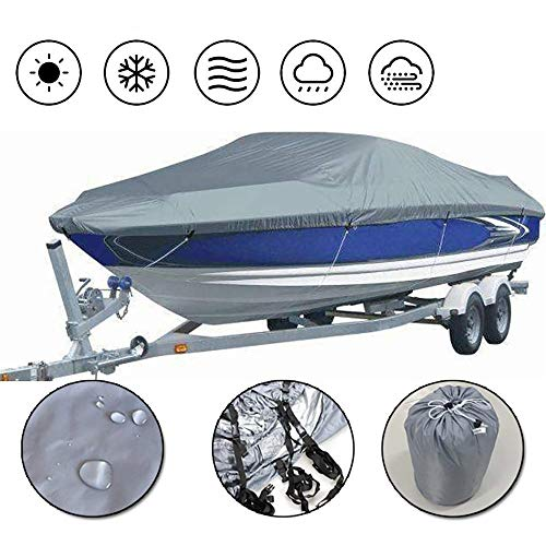 YFjyo Heavy Duty Waterproof Boat Cover, 300D Oxford Cloth Cover Marine Grade Trailerable Boat Cover, Fits V-Hull Tri-Hull Runabouts and Bass Boats, Grey,17~19FT