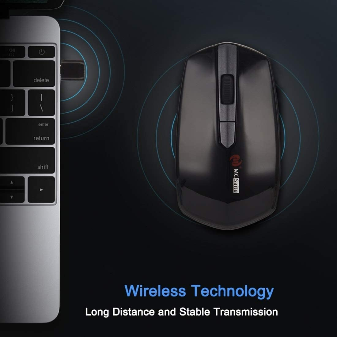 GzPuluz MCSaite MC-369AG USB-C//Type-C 1600DPI Three-Speed Adjustable 4-Button Wireless Optical Mouse
