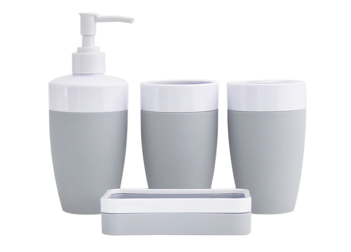 JustNile Royal Plastic and Rubber 4-Piece Bathroom Accessory Set; Includes 2 cups, 1 Soap Dispenser and 1 Soap Dish - Black and White Nbitsen AX-AY-ABHI-81517