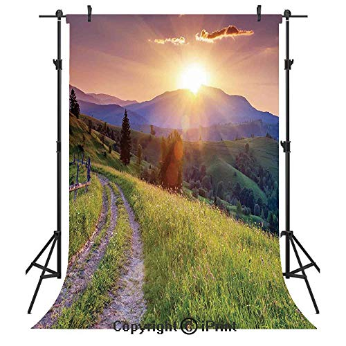(Nature Photography Backdrops,Sunset in The Mountain Landscape Rural Road Forest Countryside Wonderland Print Deco Decorative,Birthday Party Seamless Photo Studio Booth Background Banner 5x7ft,Multi)