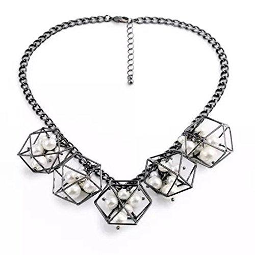 HeyGirl Women Fashion Jewelry Pendant Necklace Elegant Personality Geometric Art Necklace (Multi Marcasite Strand)