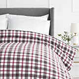 Duvet Covers and Curtains Pinzon 160 Gram Plaid Flannel Duvet Cover - King, Red/Grey Plaid - PZ-PLFLAN-RG-DUV-KG