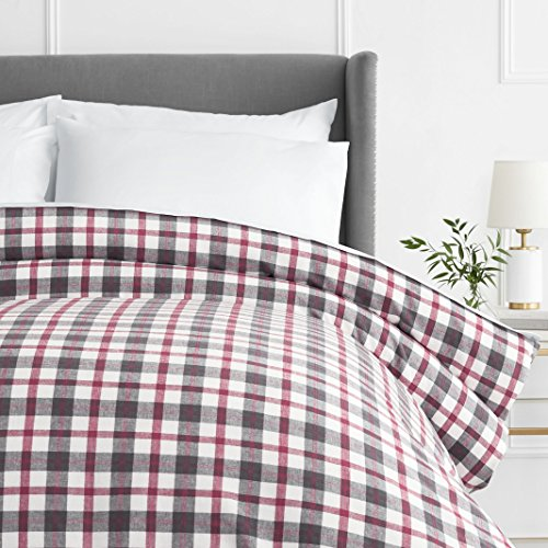 Sale!! Pinzon 160 Gram Plaid Flannel Duvet Cover - King, Red/Grey Plaid
