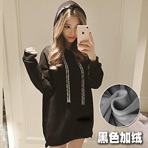 Black Large Xuanku Plus Students Loose Hooded Long Velvet Drawstring Sweater Female Models