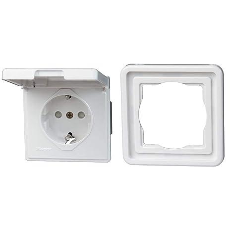 16A Schutzkontakt Steckdose UP Feuchtraum IP44 Weiß Mit Rahmen Unterputz NEU