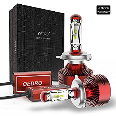 9005 HB3 LED Headlights,Unique Fanless Silence 80W 8000LM 6500K Headlight Bulbs High Beam LED Kit by oEdRo , Super White Replace for Halogen or HID Bulbs