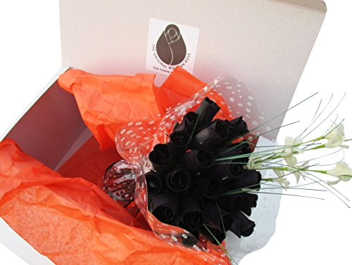The Original Wooden Rose All Black Gothic Roses Halloween Floral Flower Bouquets in a Gift Box (2 Dozen) ... ()