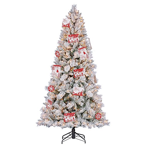 Hallmark 7.5' Artificial Northern Estate White Flocked Christmas Tree w/ Lights (Christmas Trees Flocked)
