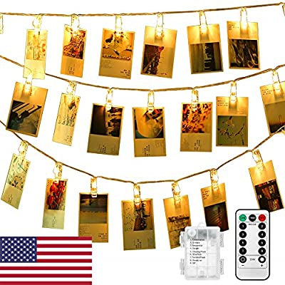 Photo Hanging Clips String, 40 LED Photo Clip String Lights 16.4ft Photo String with Clips, 8 Modes Waterproof Indoor Fairy String Lights, with Remote Timer Function (Warm White)