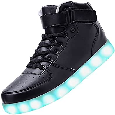 Odema Unisex LED Shoes High Top Breathable Sneakers Light Up Shoes for Women Men Girls Boys Size 4.5-13 Black Size: 4.5