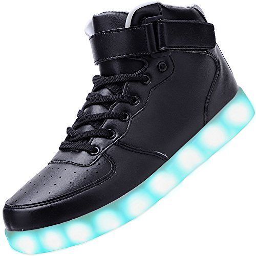 Odema Women Men High Top USB Charging LED Sport Shoes Flashing Sneakers, Black, 8 B(M) US