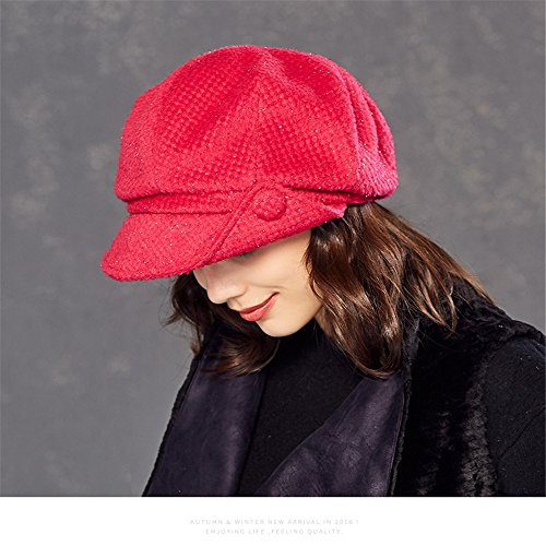 Kenmont Women Winter Warm Newsboy Cabbie Beret Cap Slouchy Cloche Hat Snow Ski Caps With Visor (Peach Pink)