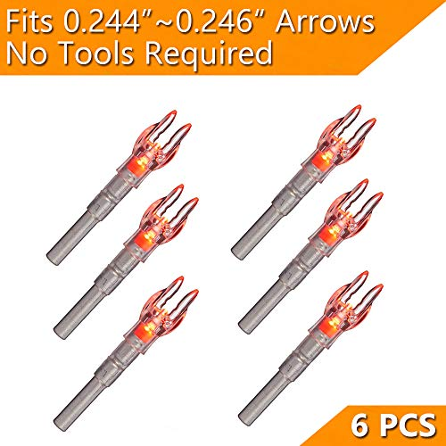GearOZ Archery Lighted Nocks for Inner Diameter 0.246 Bow Arrows, Light Up Bow Arrows by On/Off Switch Button, Bright Red Nock Lights for Shooting-6 PCS