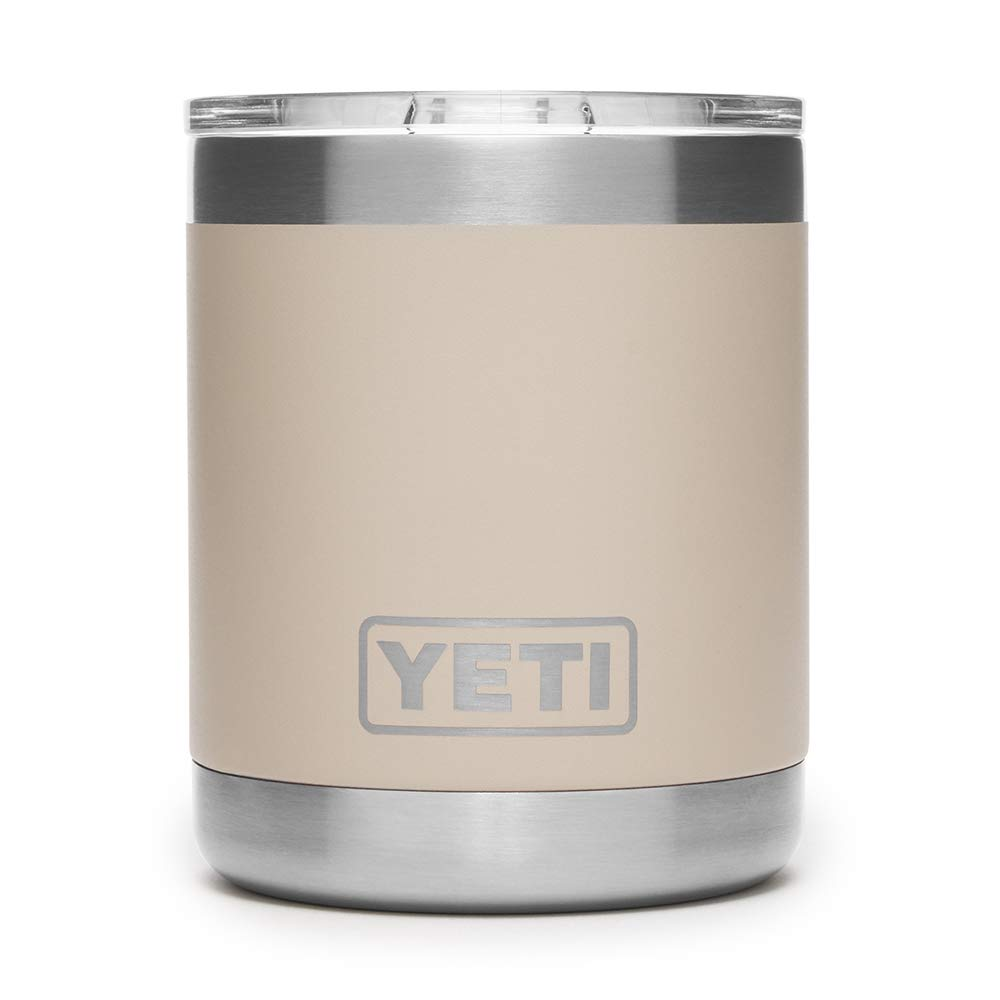 YETI Rambler 10 oz Vacuum Insulated Stainless Steel Lowball with Lid, Sand by YETI