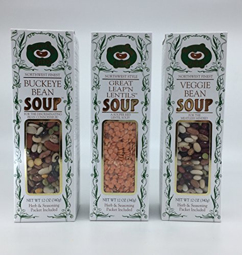 Buckeye Beans & Herbs Soup Variety of 3 : Buckeye Veggie Bean, Traditional Bean, and Great Leap'n Lentils Soup– 12oz Ounces Each. Pacific Northwest Finest For the Discriminating Bean Connoisseur (3 I ()
