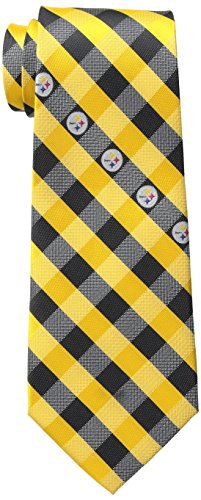 NFL Pittsburgh Steelers Men's Woven Polyester Check Necktie, One Size, Multicolor