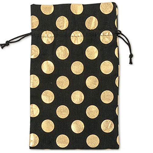 NW Black Cotton Bags With Gold Metallic Dots and Cord Drawstrings - 6in. X 10in. - 24 Pack