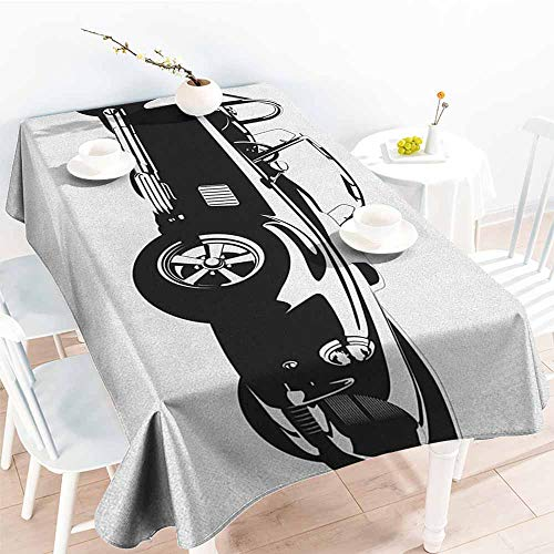 (Tablecloth for Kids/Childrens,Cars Silhouette Classic Sport Car Ac Cobra Roadster American Antique Engine Autosport,Table Cover for Kitchen Dinning Tabletop Decoratio,W50x80L Black White)