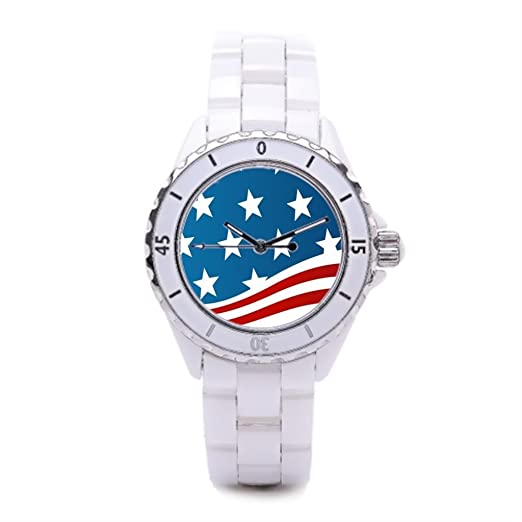 Amazon.com: American Ceramic Band Watches Flag Sport Watch America Women Ceramic Watches: Watches