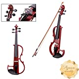 GC Global Direct Full Size Maple Silent Electric Violin Headphone Set w/ Case (Half Size, Red)