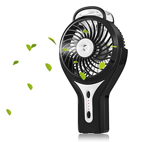 WIOR Handheld Mini USB Misting Fan Water Spray Fan Rechargeable Portable Personal Cooling Mist Humidifier Fan (Black)